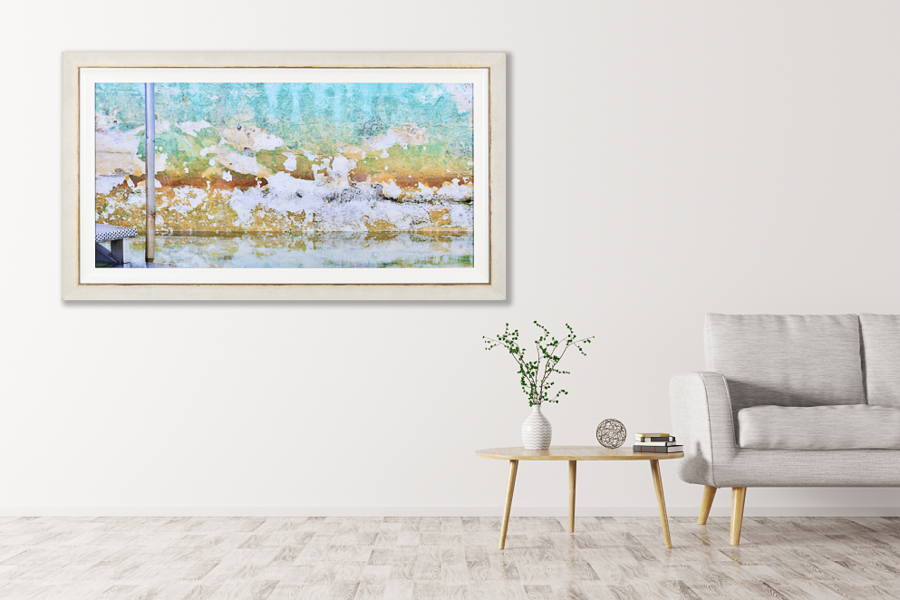acrylic-print framed in rustic off-white
