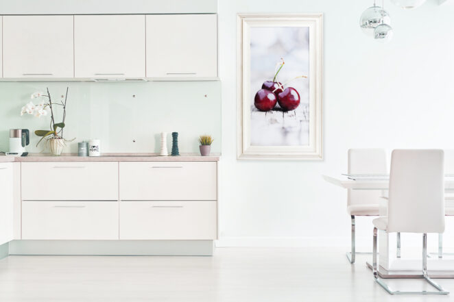 white-distressed-wood-framed-print-cherries-kitchen-interior