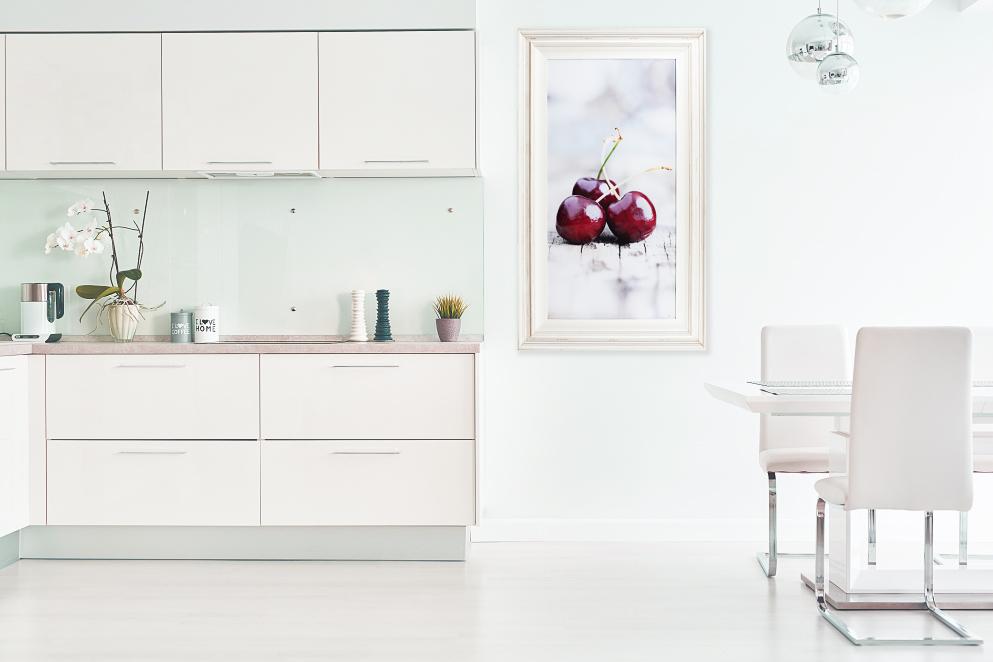 white-distressed-wood-framed-print-cherries-kitchen-interior